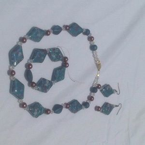 Jewelry - Teal & Chocolate Speckled Jewelry set